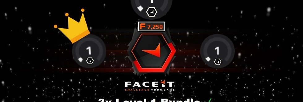 🎁 3X Bundle✔️Faceit Level 1s' | 100 - 200 Elo ✔️ 1,500 Points ✔️Verified ✔️