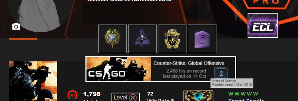 🏆🥇'18 Faceit 3,367 Elo | 1,798 Matches | +4 Medals | 2,468 Hours | Instant Dl.