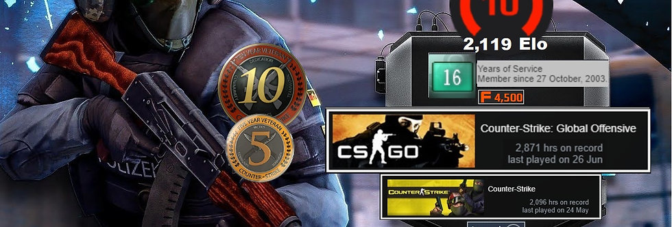 ⭐'03 Faceit 2,115 Elo   5 & 10 Years Veteran Coins   3,127 Hours   Instant Dl.