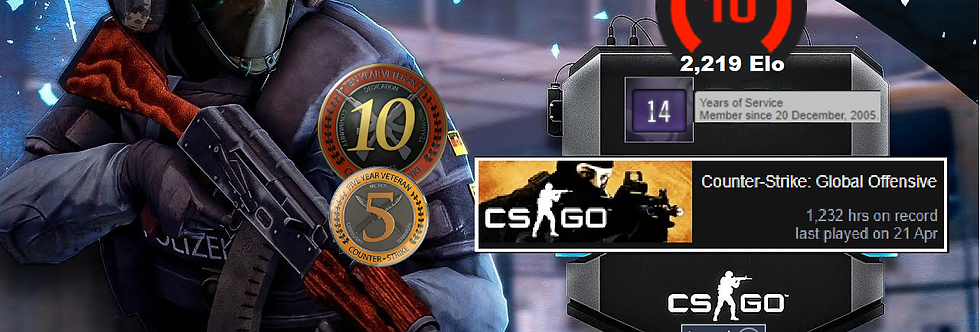 ⚡Faceit 2,219 Elo | 1,250 Hours CSGO & CSS | 2005. Registered | Instant Delivery