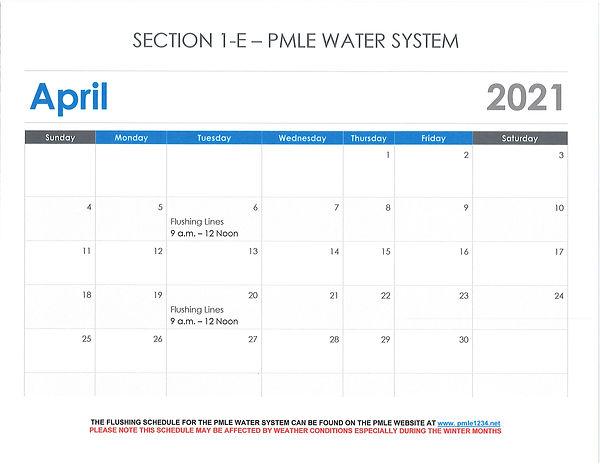 Water System - Water Flushing April 2021
