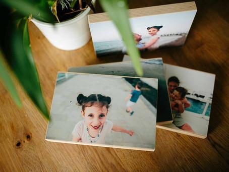 Fotos auf Holzblocks