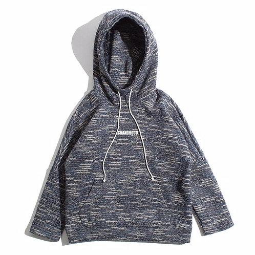SHANGHOOD Grey Knitted Hoodies