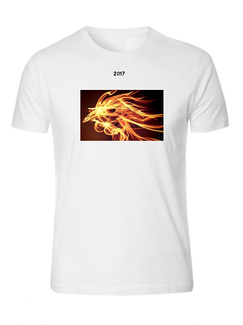Golden Fire Rooster White Tee