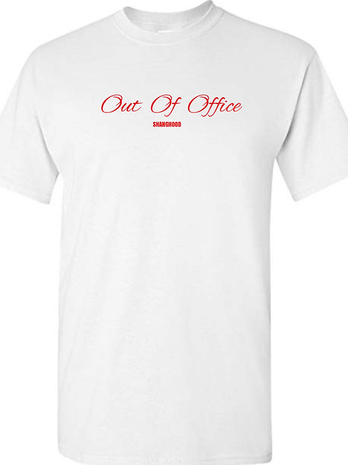 Out of Office White Tee (Red Font)