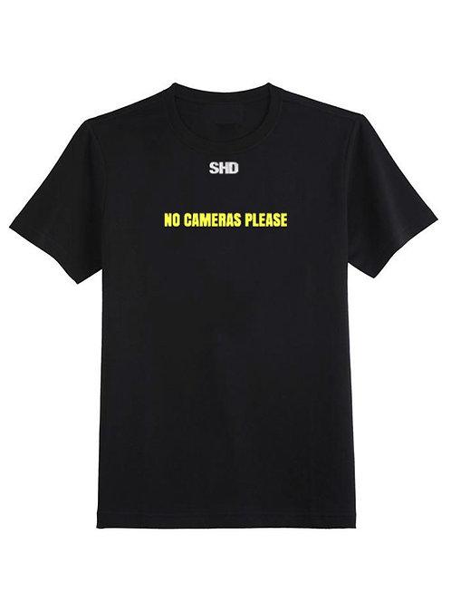 No Cameras Please Black Tee