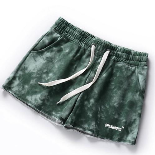 Ladies High Waist Green Tie dye shorts