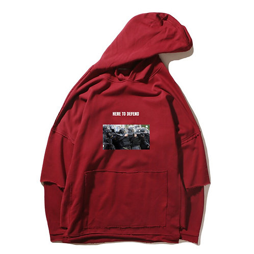 Here To Defend Red Hoodies