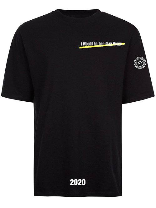 I Would Rather Stay Home Black Tee