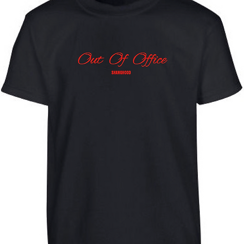 Out of Office Black Tee (Red Font)