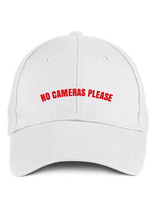 No Cameras Please White Cap