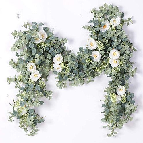 Eucalyptus Garland with White Silk Flowers