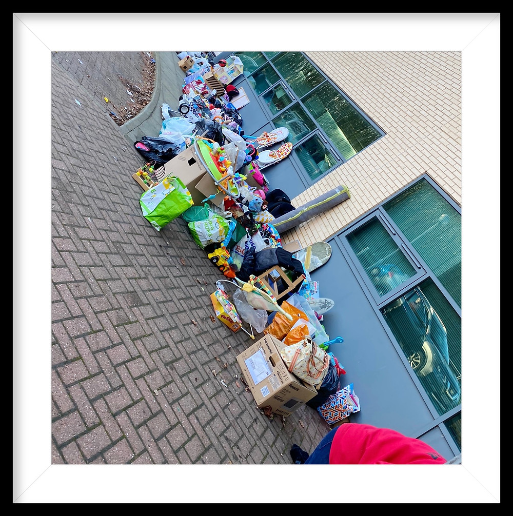 donations all day every day  hundreds of bags  you are amazing