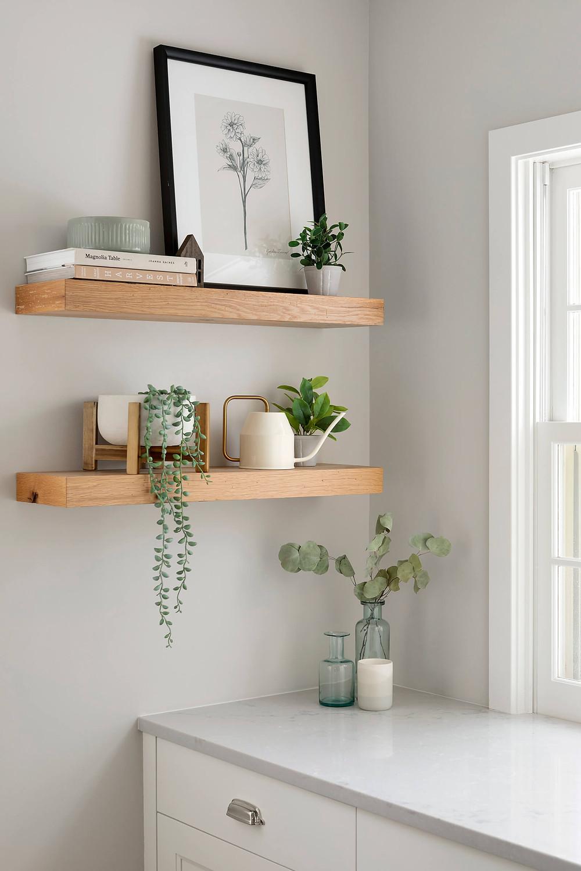 White oak open shelvings, gray painted walls, kitchen remodel.