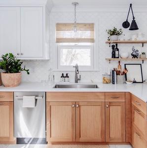 Scandinavian kitchen with white oak lower cabinets, fishscale tile and white oak open shelving