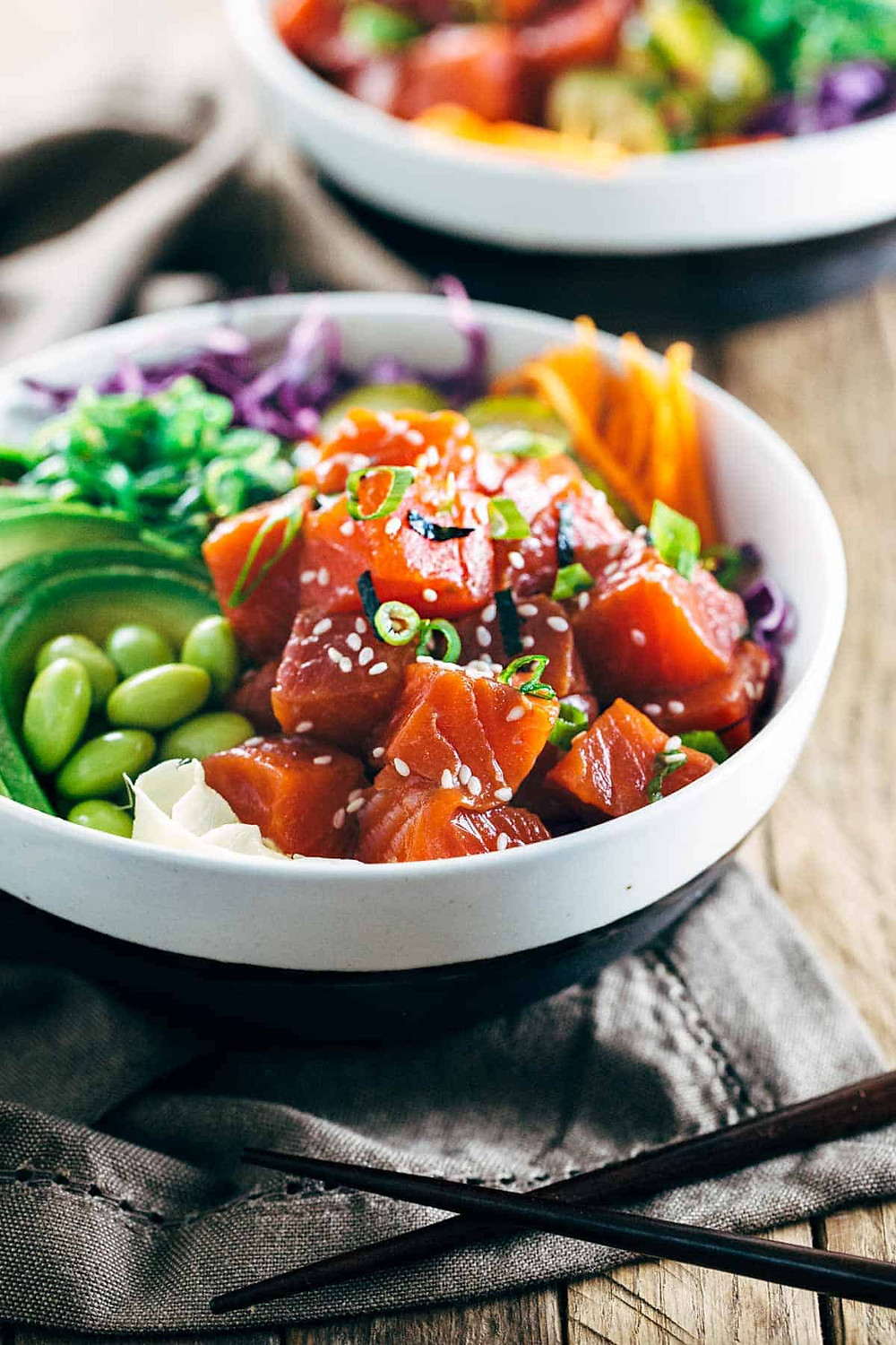Spicy salmon poke bowls, easy meal, meal prep