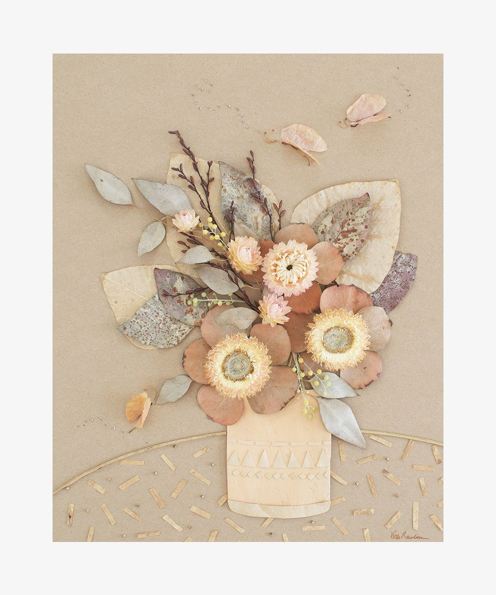 Neutral floral wall decor