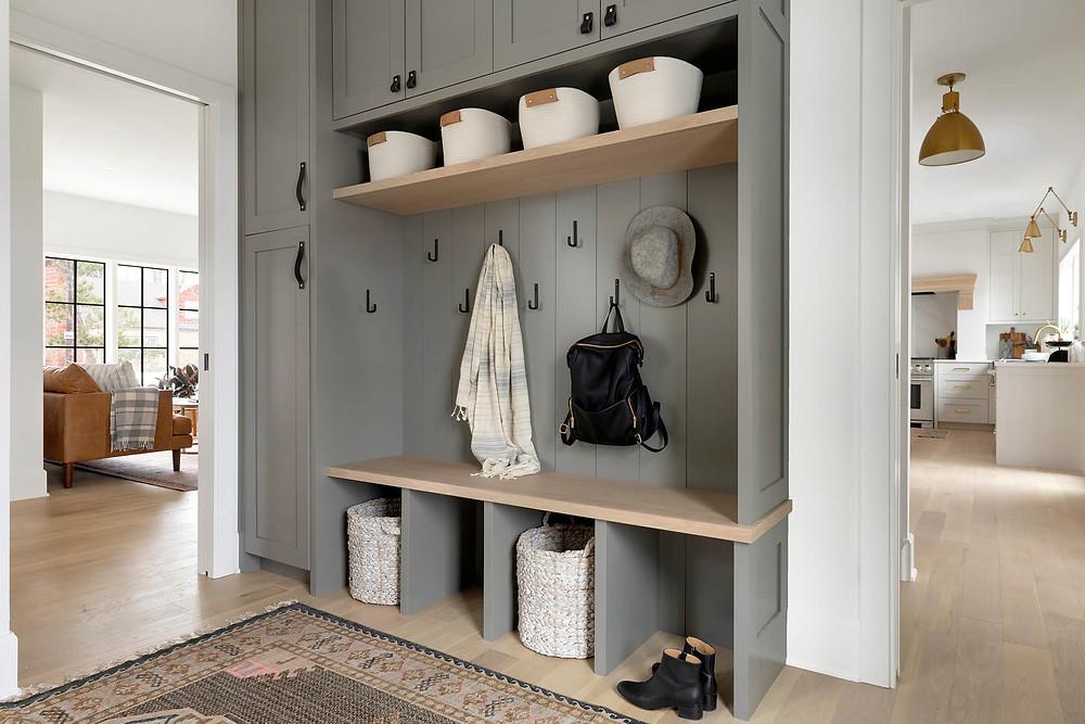 Chelsea Gray Mudroom Cabinets