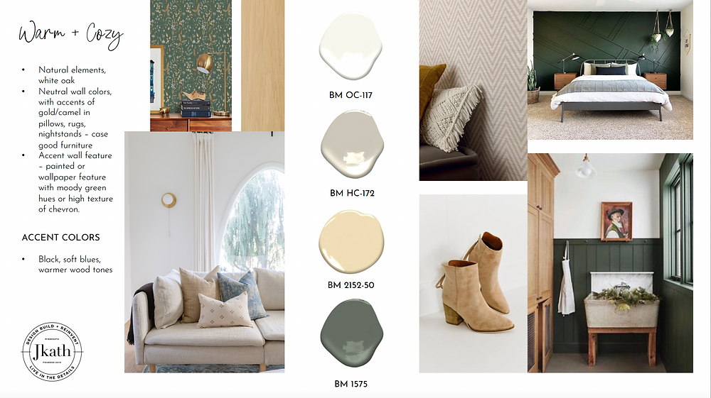 Warm and cozy paint colors for a new home