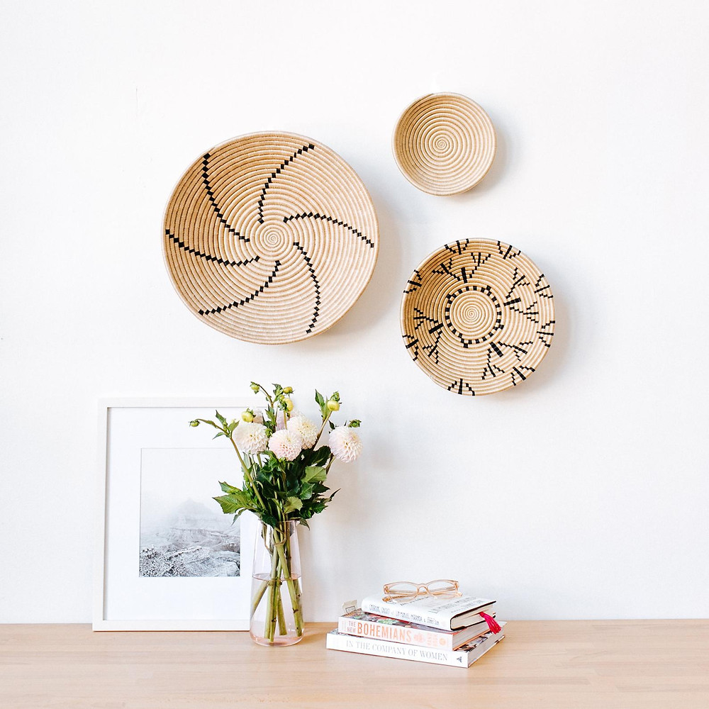 Neutral woven baskets for the wall
