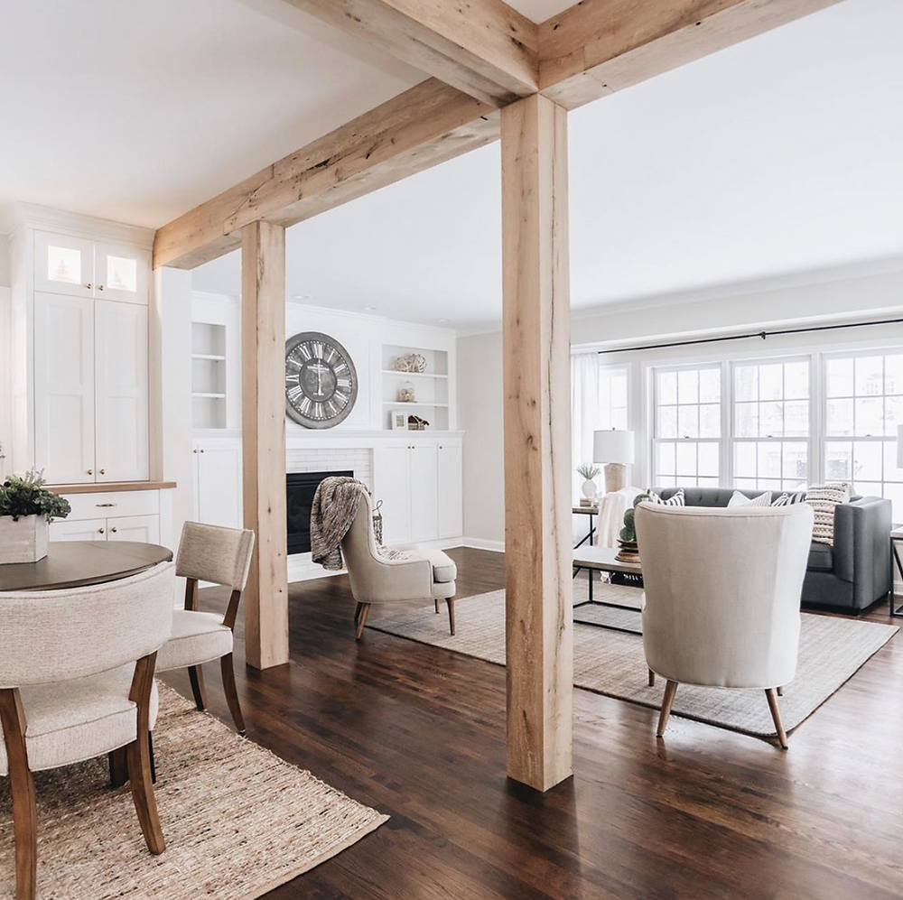 Reclaimed elm posts and beams in the Arden Ave living room