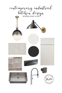 Contemporary industrial kitchen design board for a kitchen renovation