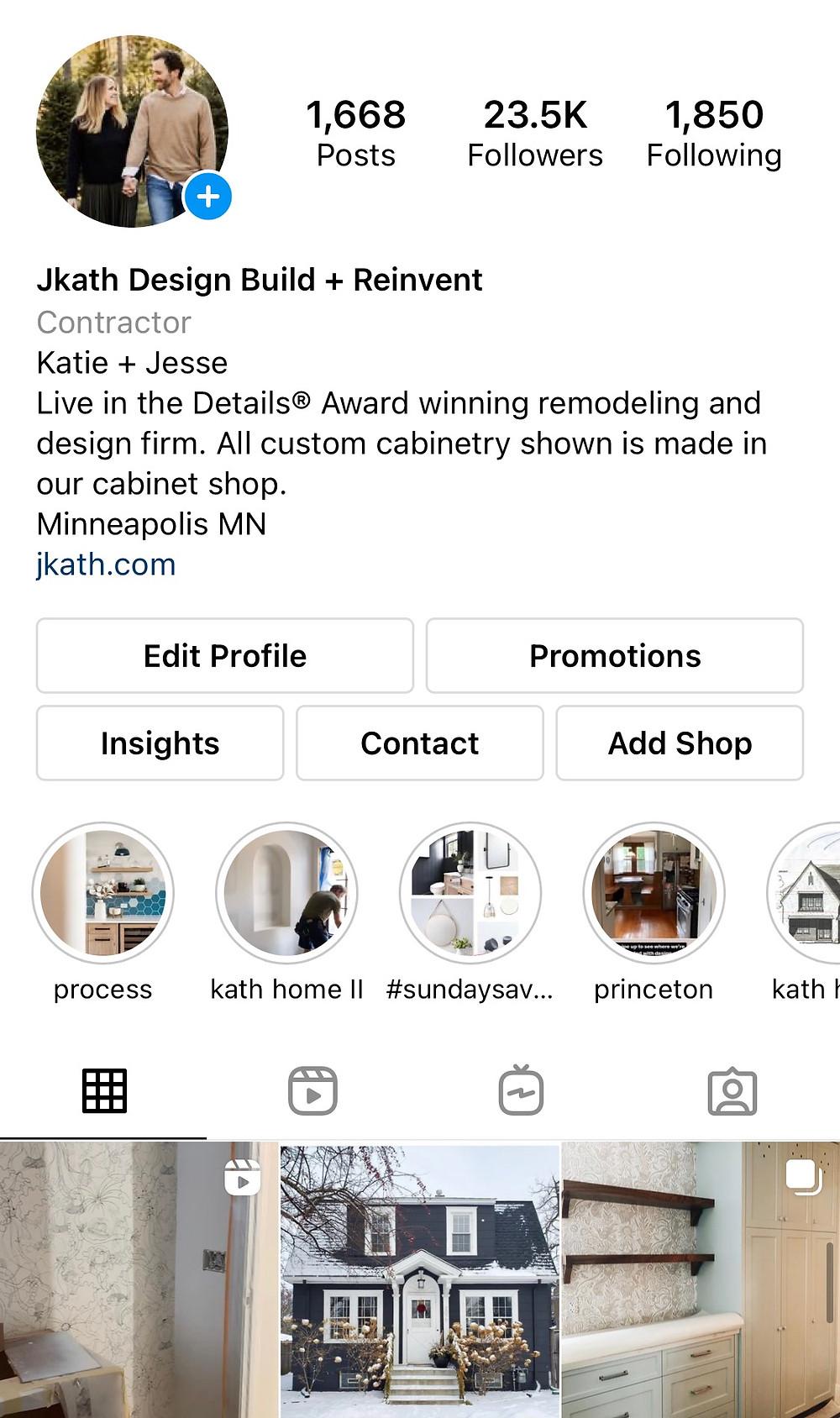 Example of optimized Instagram bio