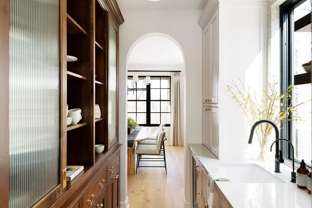 10 unique kitchen cabinet trends, reeded glass details
