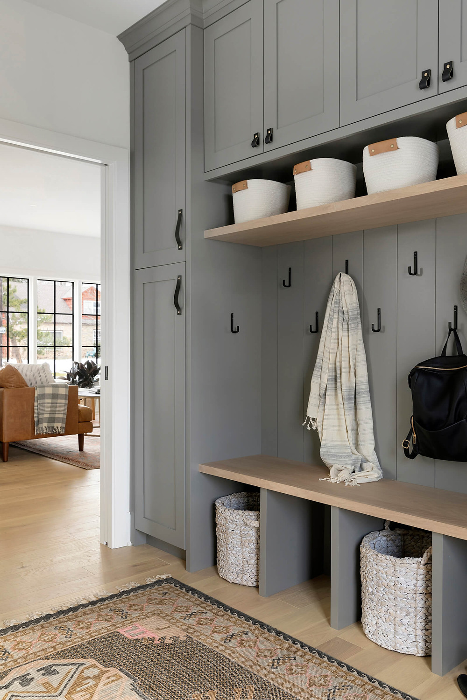 mudroom storage, mudroom locker, gray cabinets