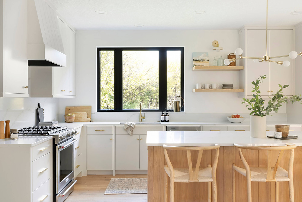California inspired kitchen update,  their dream oasis would bring in the clean lines, modern architecture paired with warm and cool tones to refresh this space for decades to come.