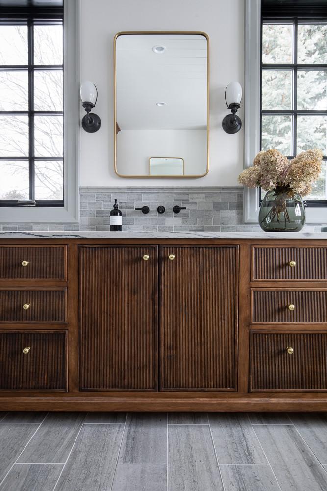 Fluted walnut bathroom vanity detail