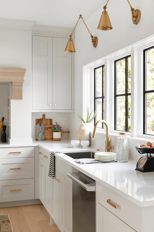 Brass Lighting, Balboa Mist Kitchen Cabinetry