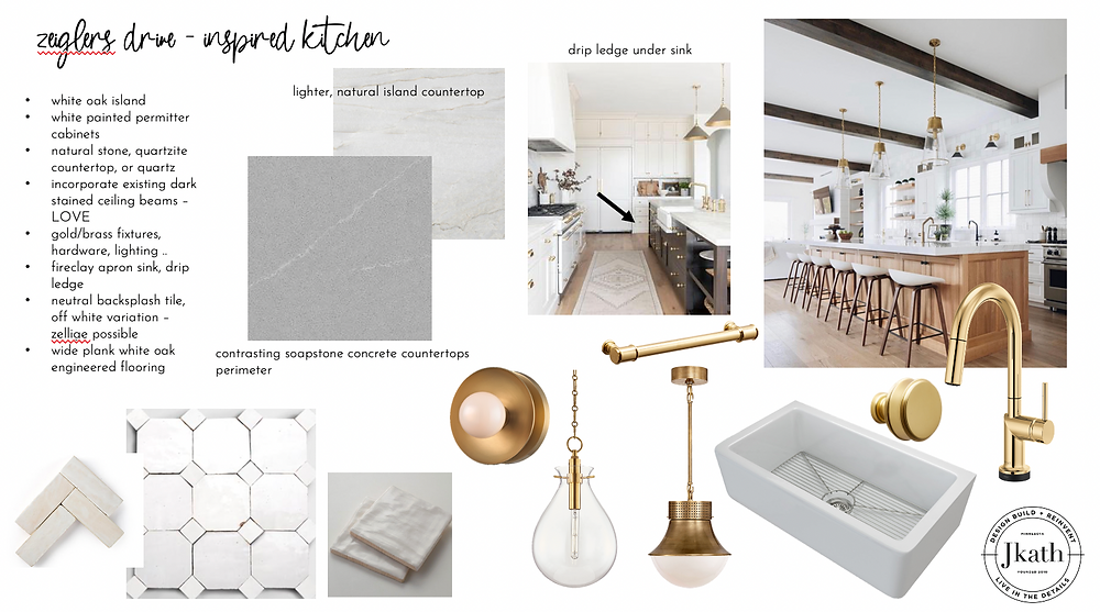 mood board designs for a kitchen remodel on the Mississippi River