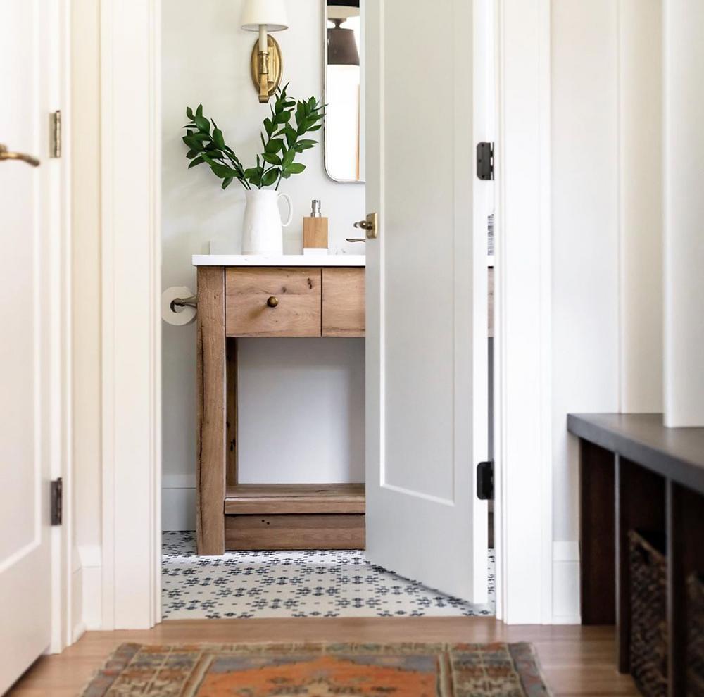 Powder bathroom custom reclaimed oak vanity