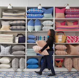 Bole Road Textiles pillow accessory wall, fun tile floor