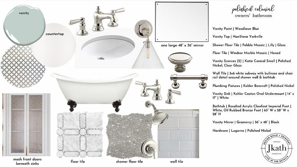Colonial primary suite bathroom inspiration.