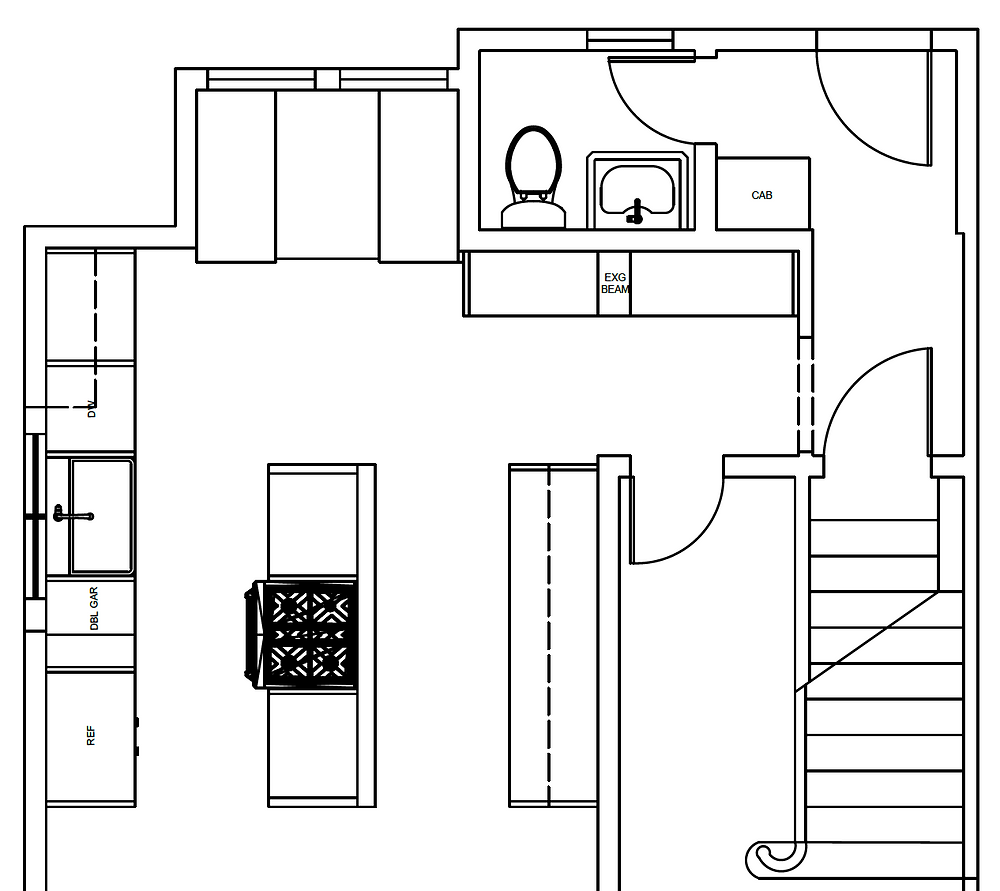 Small kitchen floor plan in Colonial style home