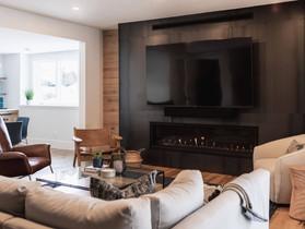 Cozy Chalet Lower Level Living Room + Bathroom Remodel