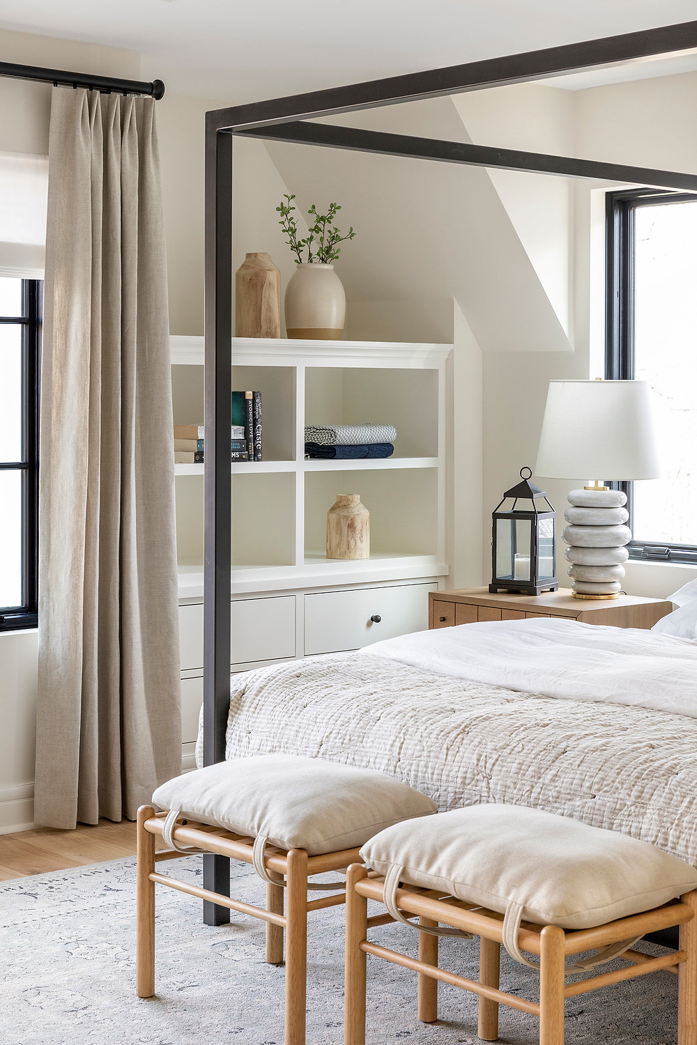 Metal bed frame, built in bookcases