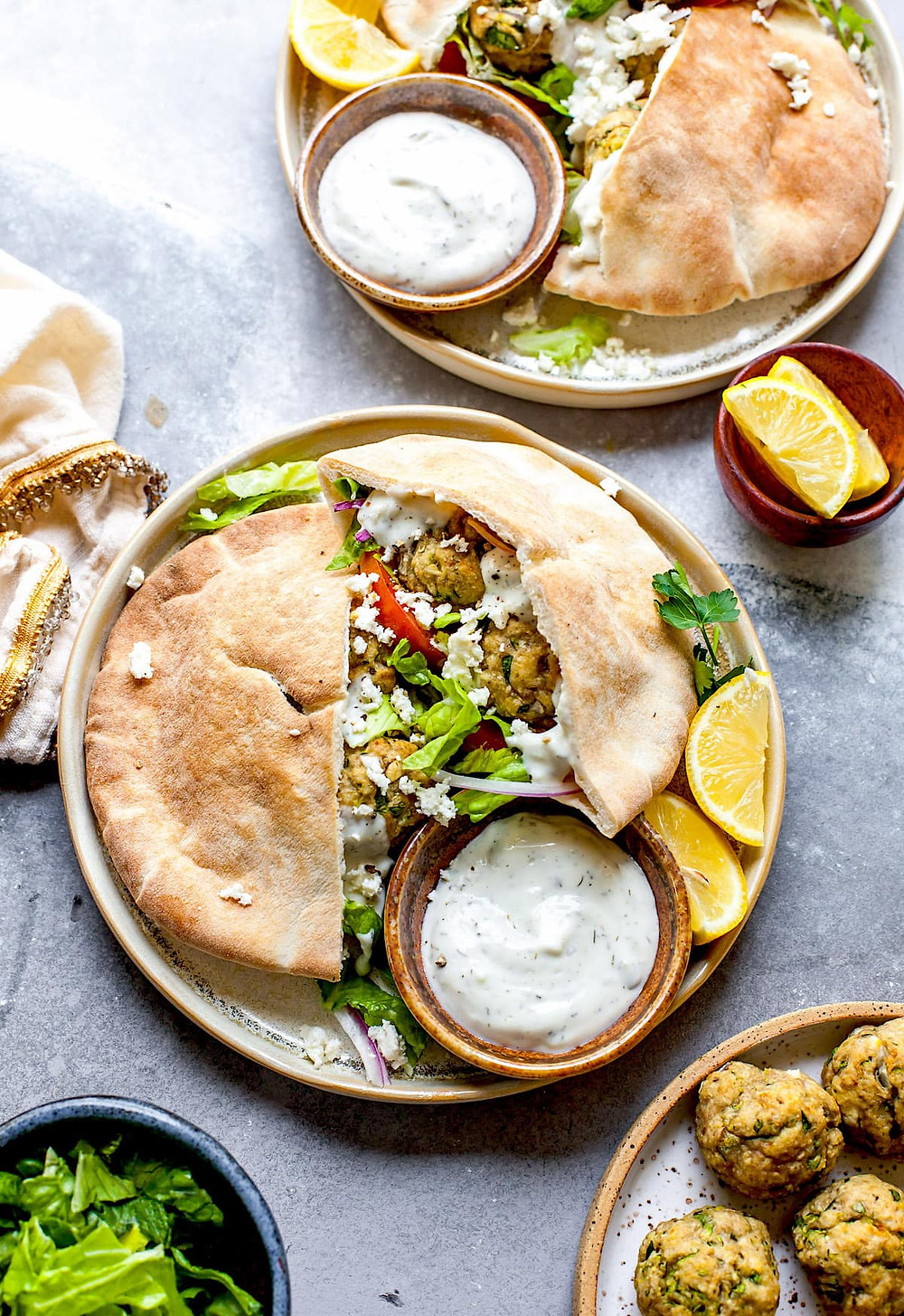 Greek turkey meatballs, pita