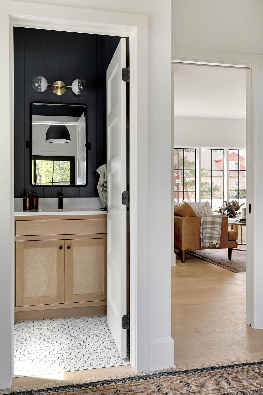 powder room, moody room, black walls, white oak vanity