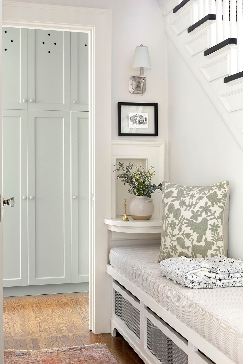 Charming hallway phone booth ledge with Jkath custom made radiator cover bench viewing in on pantry cabinet