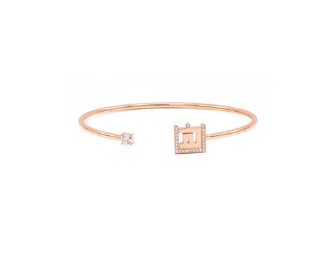 Open Bangle with a side Diamond