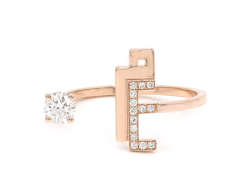 Open Ring with Diamond Solitaire