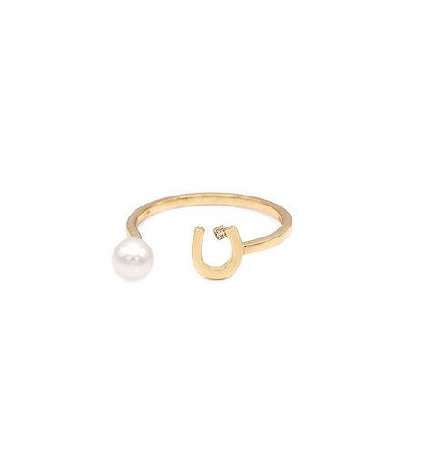 "Plain Pearl Drop Ring- ""N"""