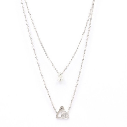 Duo Chain Necklace with Diamond Solitaire