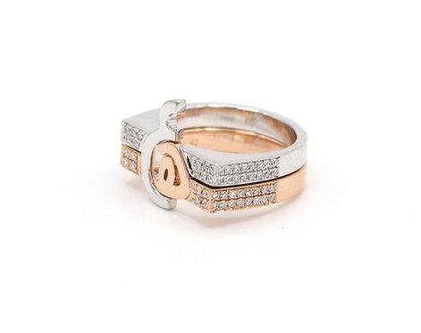 Thick Duo Rings with Flat Tops, Diamond Bands
