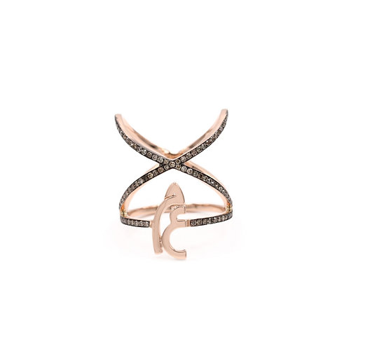 Criss Cross Ring with two letters and diamonds on bands