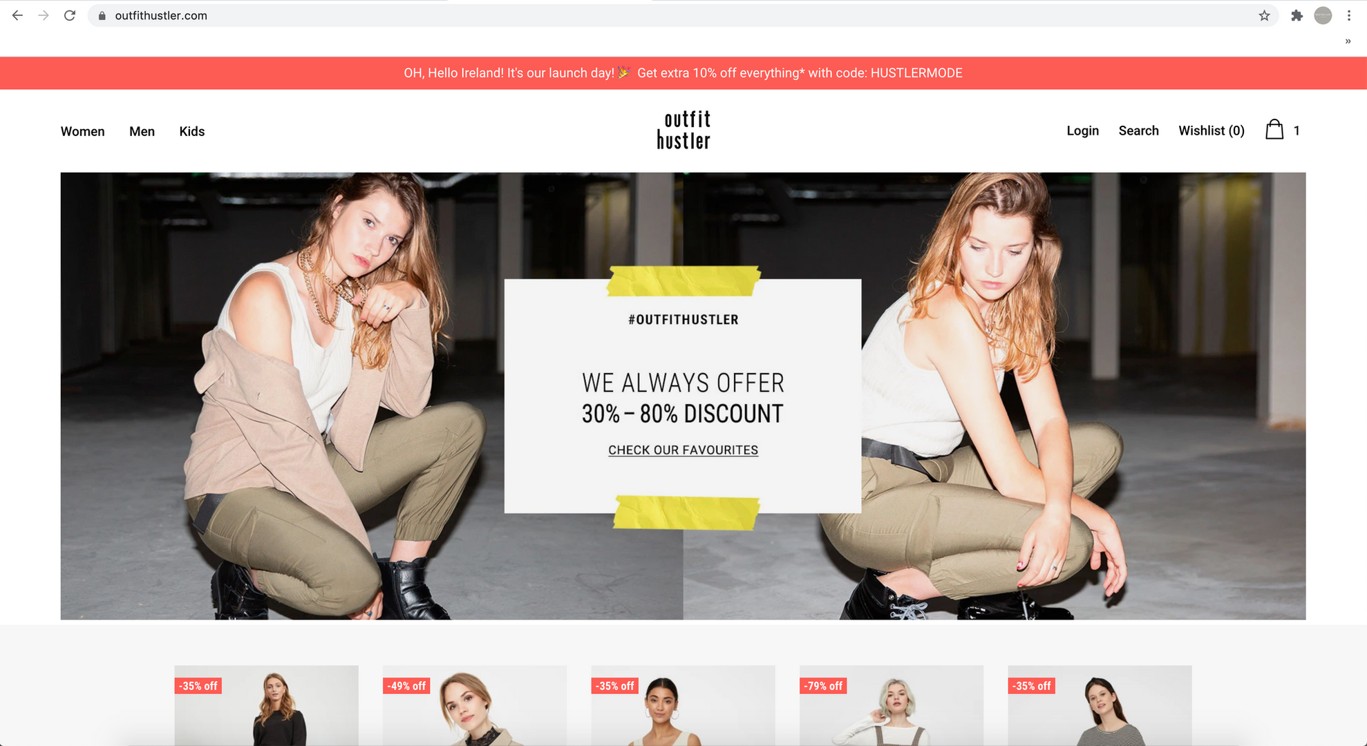 Front page content shot for Outfit Hustler