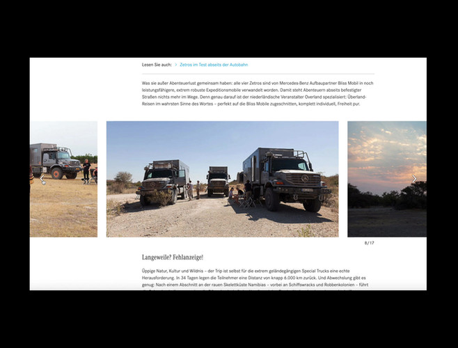 All content shot for Overland Travel on the website of Mercedes Benz